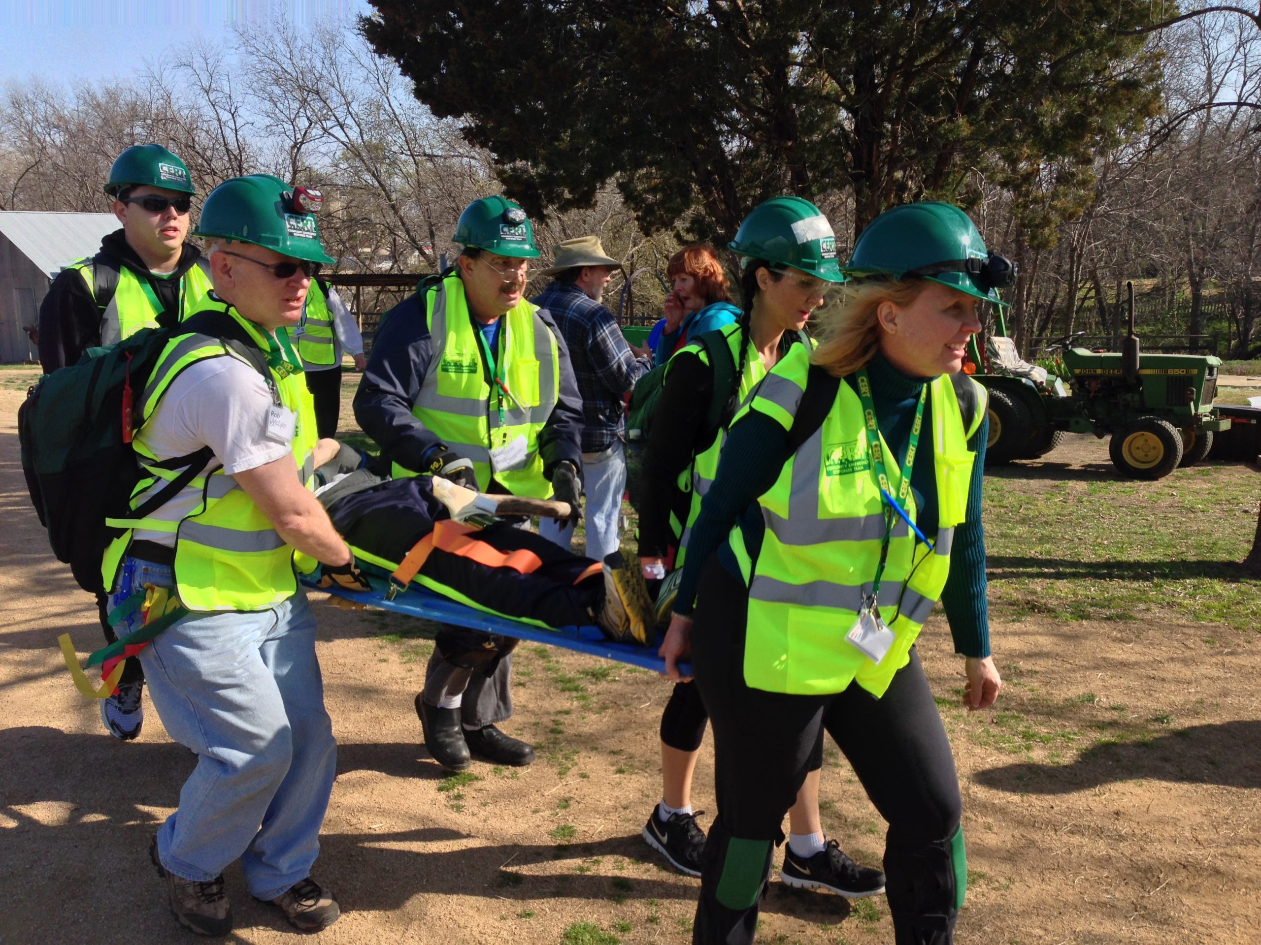 Plano CERT Trainees Learning to Carry a Stretcher