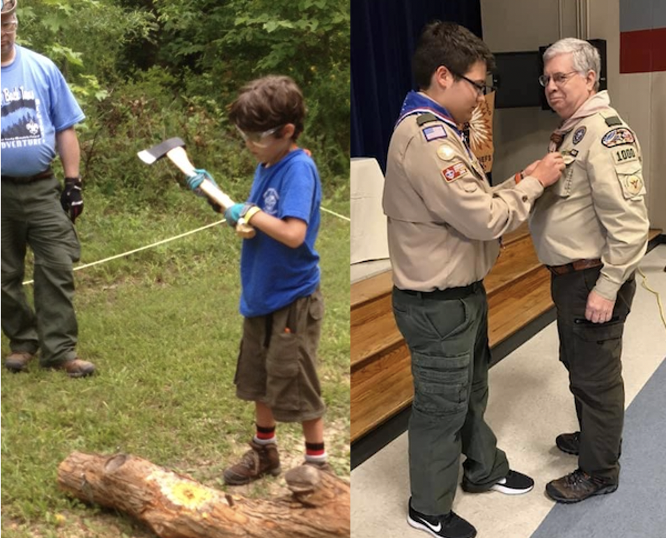 Steve Lavine helping young boy learn to use axe; Steve receives Mentor Pin from Boy Scout