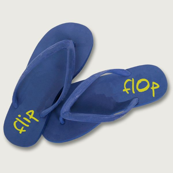 Blue flip-flop slippers with yellow text flip flop